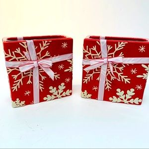 FTD Christmas Planters Gift Bag Red White Z83